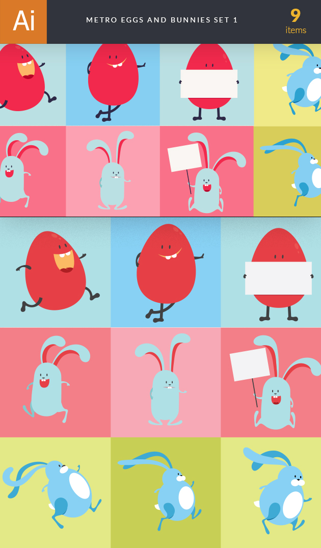 Easter Characters Vector  Set 1 designtnt designtnt vector easter characters 1 vector large