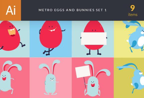 Easter Characters Vector  Set 1 designtnt designtnt vector easter characters 1 vector small