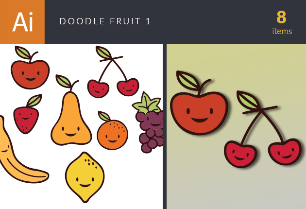Doodle Fruits Vector Set 1 Vector packs lemon