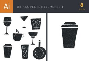 Drinks Elements Set 1 Vector packs glass