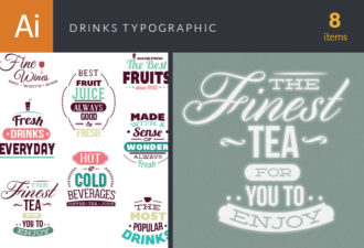 Drinks Typographic Elements Vector packs abstract