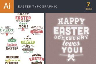 Easter Typographic Elements Vector packs flat
