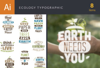 Ecology Typographic Elements 2 Vector packs flat