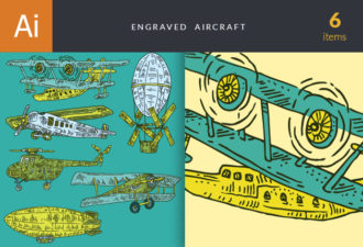 Engraved Aircraft Set 1 Vector packs airplane