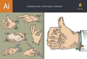 Engraved Antique Hands Vector Set 1 Vector packs people