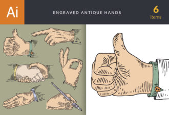 Engraved Antique Hands Vector Set 1 Vector packs people