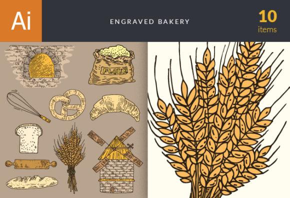 Engraved Bakery Vector Set 1 Vector packs bread
