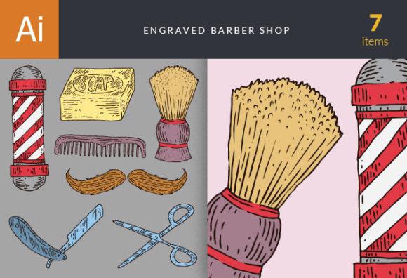 Engraved Barber Shop Vector Set 1 Vector packs broom