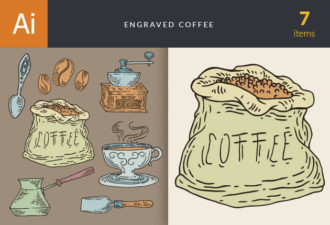 Engraved Coffee Vector Set 1 Vector packs coffee