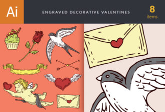 Engraved Decorative Valentines Vector Set 1 Vector packs flower