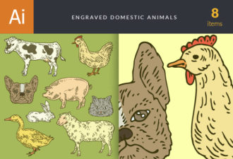 Engraved Domestic Animals Vector Set 1 Vector packs cat