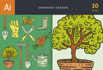 Engraved Garden Vector Set 1 Vector packs tree