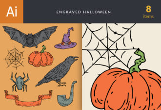 Engraved Halloween Vector Set 1 Vector packs vintage