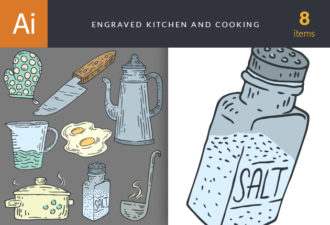 Engraved Kitchen And Cooking Vector Set 1 Vector packs vintage
