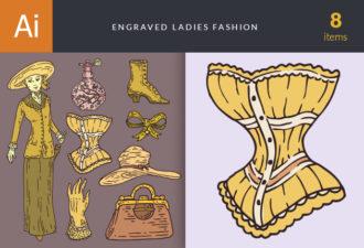 Engraved Ladies Fashion Vector Set 1 Vector packs vintage