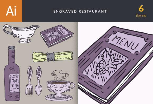Engraved Restaurant Vector Set 1 1