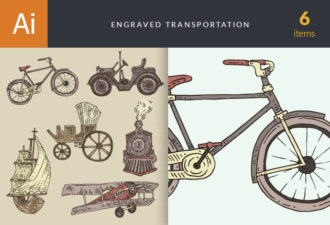 Engraved Transportation Vector Set 1 Vector packs vintage