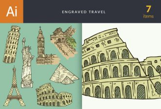 Engraved Travel Vector Set 1 Vector packs vintage