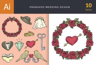 Engraved Wedding Design Vector Set 1 Vector packs flower