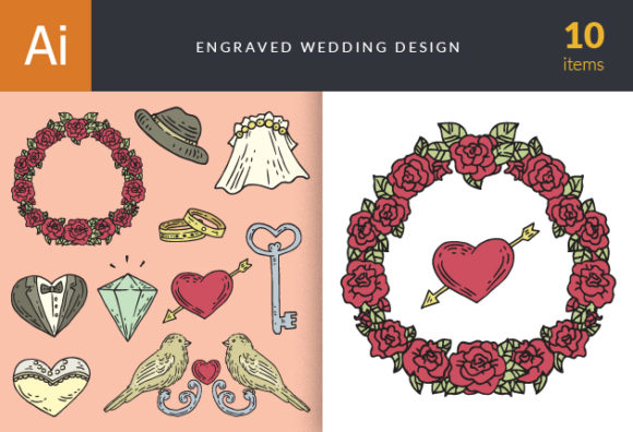 Engraved Wedding Design Vector Set 1 5