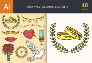 Engraved Wedding Elements Vector Set 1 Vector packs glass