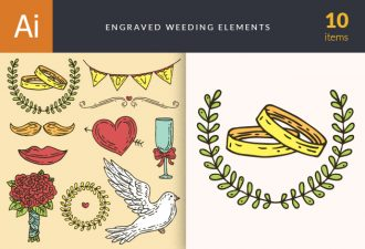 Engraved Wedding Elements Vector Set 1 Vector packs glass