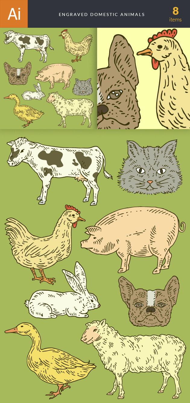 Engraved Domestic Animals Vector Set 1 designtnt engraved domestic animals vector set 1 vector large