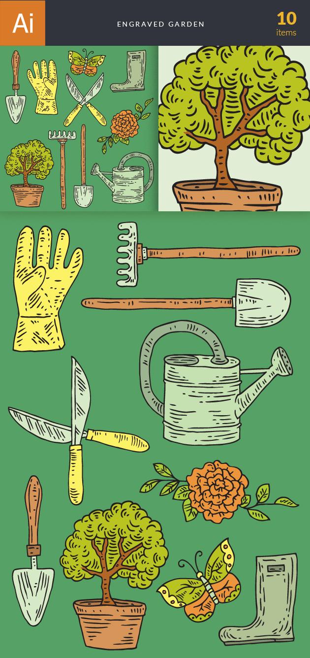Engraved Garden Vector Set 1 2