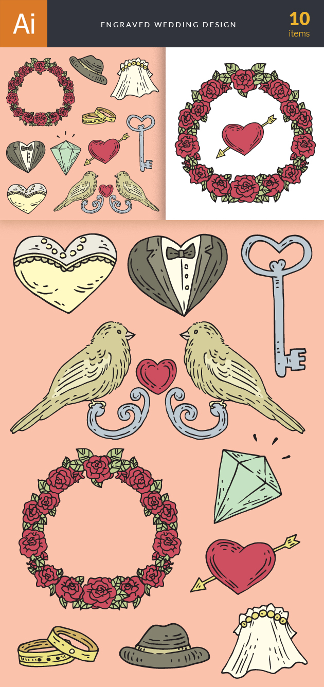 Engraved Wedding Design Vector Set 1 6