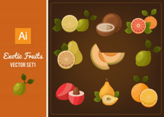 Exotic Fruits Vector Set 1 Vector packs lemon
