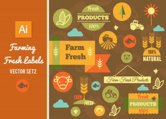Farming Fresh Labels Set 2 designtnt farming fresh labels set 2 vector small