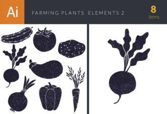 Farming Plants Vector Set Vector packs flat