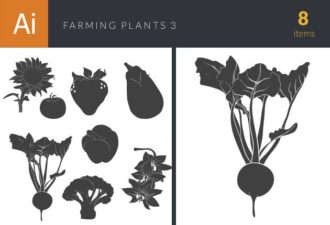 Farming Plants Vintage Vector Set 3 Vector packs flat