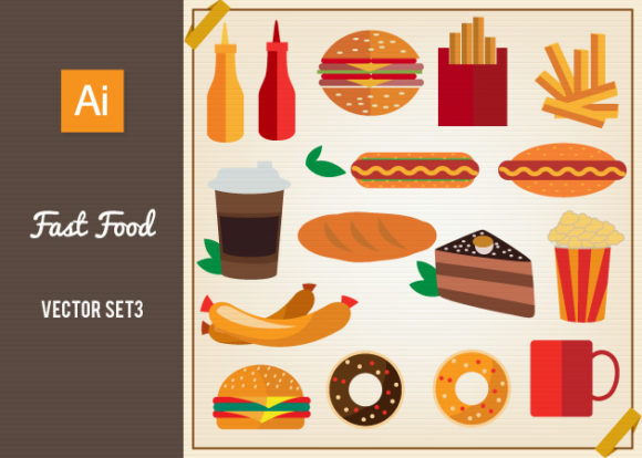 Fast Food Vector Set 3 designtnt fast food vector set 3 vector small
