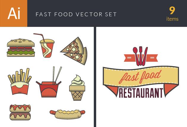 Fast Food Vector Set 4 Vector packs glass