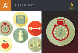 Fitness Flat Icons Set 1 Vector packs [tag]