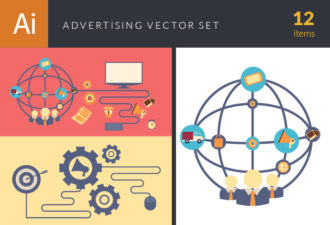 Flat Advertising Concept Vector Set 1 Vector packs mouse