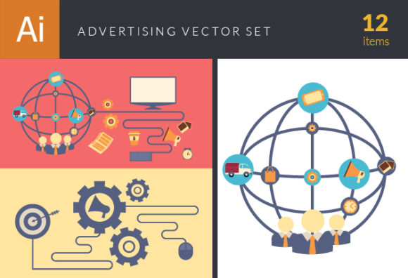 Flat Advertising Concept Vector Set 1 designtnt flat advertising concept vector set 1 vector small
