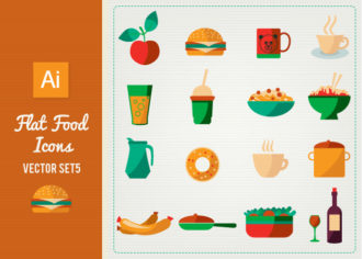 Flat Food Icons Set 5 Vector packs glass