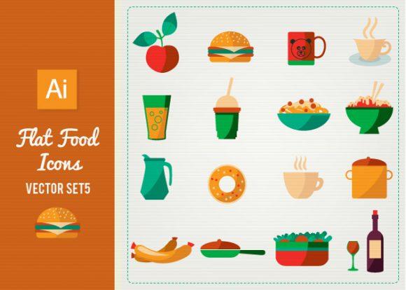 Flat Food Icons Set 5 designtnt flat food icons set 5 vector small
