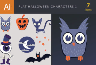 Flat Halloween Characters Set 1 Vector packs cat