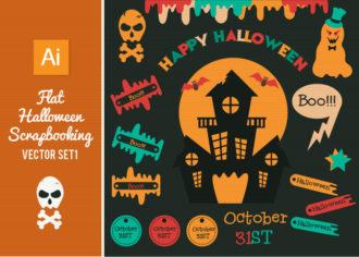 Flat Halloween Scrapbook Set 1 Vector packs skull