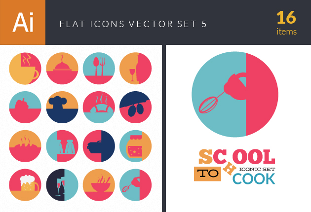 Flat Icons Set 5 Vector packs glass