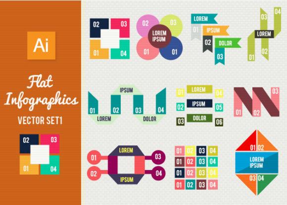 Flat Infographics Set 1 Infographics abstract
