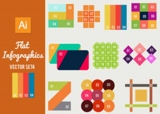 Flat Infographics Set 4 Infographics abstract