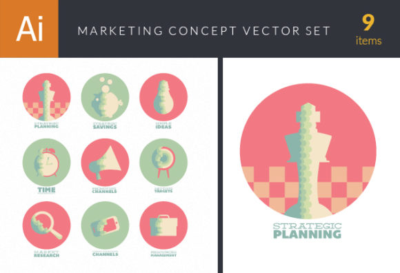 Flat Marketing Concept Vector Set 1 designtnt flat marketing concept vector set 1 vector small
