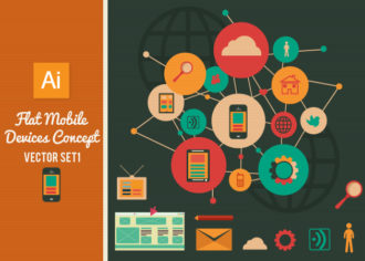 Flat Mobile Devices Concept Set 1 Vector packs building