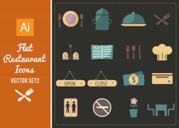 Flat Restaurant Icons Set 2 Vector packs sign