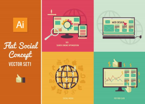 Flat Social Concept Vector Set 1 designtnt flat social concept vector set 1 vector small