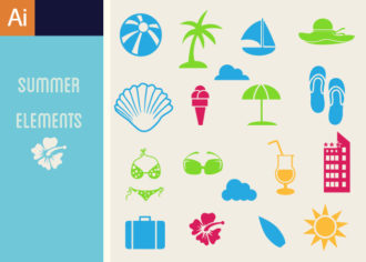 Summer Icons Vector Set 1 Vector packs Editor's Picks – Icons & Logos